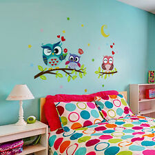 Kids Child Owl Birds Branch Decal Home Decor Removable Vinyl Mural Wall Stickers