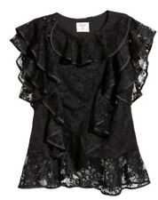 2119ffcd NEW ERDEM x H&M LACE Ruffle Top with Flounces Black Floral Blouse M SHIPS  TODAY
