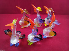 Vintage Lot of 6 Miniature Birds Hand Blown Glass Animal Figurines Pelican