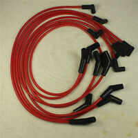 396-427-454-502 FIT BBC CHEVY HEI RED Spiral Core SPARK PLUG WIRES 45 DEGREE END