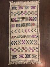HandMade Moroccan Berber Azilal Rug Colorful Geometric Tribal Wool Boucherouite