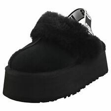 UGG Funkette Womens Black Suede Slippers Sandals
