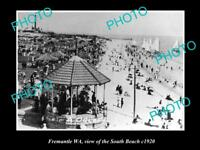 OLD LARGE HISTORIC PHOTO OF FREMANTLE WA VIEW OF CROWD AT SOUTH BEACH c1920
