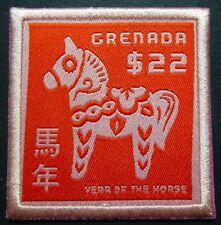 Grenada 2014 Jahr des Pferdes Lunar Year of the Horse Stickerei Stoff MNH