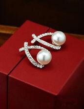 Bridal Pearl SILVER Diamante/Crystal/Cubic Zirconia  Stud Earrings - UK SELLER