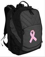 Pink Ribbon Backpack Laptop Computer Bag Breast Cancer Support Padded Backpacks