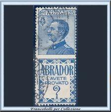 1924 Italia Regno Pubblicitari Abrador cent. 25 azzurro n. 4 Usato [x]