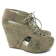 Urban Outfitters Matiko Suede Booties 6.5 Cutout Detail Wedge Platform Lace Up
