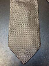 Gianni Versace 100% Silk Neck Tie Italy SIlver Woven Grid & Medusa Pattern
