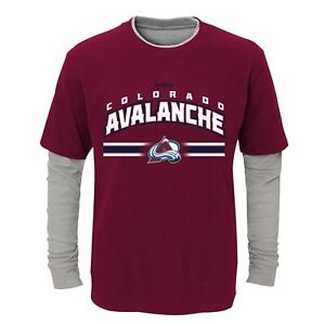 Reebok NHL Youth (8-20) Colorado Avalanche Faux Layer Long Sleeve T-Shirt