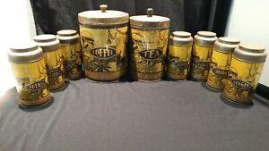 Vintage BOONE Hoosier COFFEE TEA (7) Spice tins Set