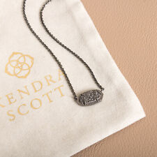 NEW Kendra Scott Elisa Pendant Necklace in Black Drusy