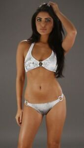 Christian Audigier for Ed Hardy~Gray~White~Silver~Crowns~Rhinestone~Bikini~Sz M