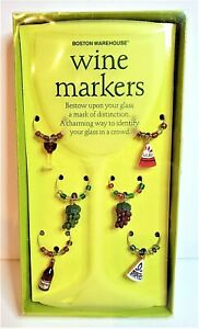 Boston Warehouse Trading Co 2004 Wine Glass Markers Charms Wine Cheese & Grapes