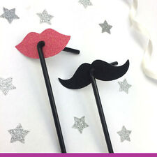 Glittery Lip and Glittery Moustache Straws - Classy Hen Party Straws- Pack of 10