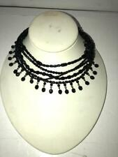 WOMENS SAKS FIFTH AVENUE BLACK BEADED COSTUME NECKLACE