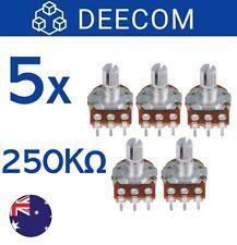 [5x] B250K OHM Linear Taper Rotary Potentiometer 15mm Shaft
