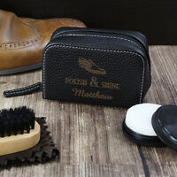 Personalised Shoe Care Kit Birthday Father's Day Brush Shine Polish Cleaning Set