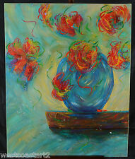 """Marilyn Hurst Original 30x24"""" Painting Canadian Listed Artist Floral Flowers"""