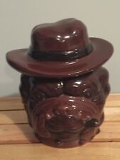 Vintage 1997 CBK Brown Bulldog In Cowboy Hat Smoking Cigar Cookie Jar 8.5""