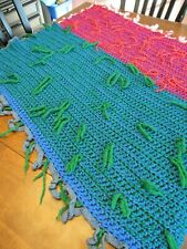 "Afghan Blanket GRANNY Chevron Crochet Quilt Throw 44""x43"" vintage green red"