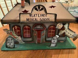 Spooky Hollow Haunted Medical School Metal Building Tea Light Halloween Building