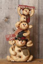 Winter Blessings new Standing SNOWMEN FAMILY holding signs - Large size