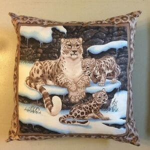 NEW 14 X 14  LEOPARD LAYING WITH CUBS CAT ANIMAL THEME PILLOW - COLLECTORS GIFT!