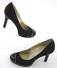 Tahari LAURIE Cap Toe Platform Pumps Grosgrain Patent Leather Black Gold Sz 8M