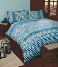 King Size Duvet Cover Blue Moroccan Art Design 2 Pillowcases Bedding Bedroom Set
