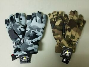 New Mens Thinsulate 3M Winter Fleece Camo Gloves.