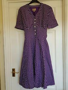 LINDY BOP New Ionia Vintage-Style Cotton Dress - Purple Polka - UK 16