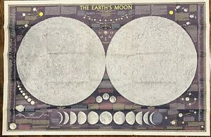 Beautiful Vintage 1969 National Geographic Magazine Map - The Earth's Moon
