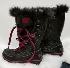 Sorel Tivoli Twist Winter Waterproof Women's Boots Black Purple Trim Size 6.5
