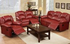 3 PC Poundex F6677 Red Burgundy Finish Bonded Leather Reclining Sofa Set