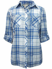 Anthology 12 14 18 20 26 Cotton Checked Shirt Top Soft Touch Blue White Marisota