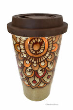 Large 12oz Ceramic Peacock Feather Tail Travel Tea Coffee Mug w/ Silicone Lid