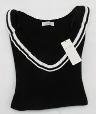 LADIES MARKS & SPENCER PER UNA BLACK JUMPER WITH BLACK AND WHITE TRIM SIZE 20