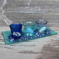 Geschenk Set Glasschale Dekoset Maritim mit 3x Votivglas Windlicht blau Glas