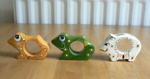 Vintage Napkin Rings Set of 3 Frog Pig Folk Art from Sri Lanka Hand Painted Wood
