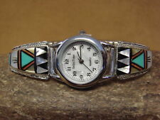 Zuni Indian Jewelry Sterling Silver Opal Inlay Watch by RB
