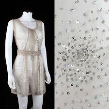 FREI DESIGNS ANNE NOTAVNY CUSTOM SHEER BEIGE TULLE SEQUINED DRESS OOAK SZ S / M
