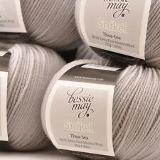4 PLY 100% Extra Fine Merino Hand Knit Wool - Bessie May SNIKEL, grey of Cloud