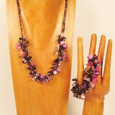 "20"" Handmade Purple Black Shell Chip Seed Bead Necklace/Bracelet PERFECT MATCH"
