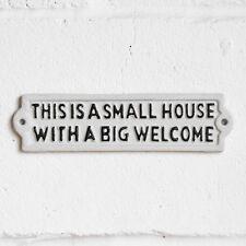 Metal Small House Big Welcome Wall Sign Plaque Door Garden Outdoor Kitchen Home