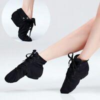 Adult Children Shoes Canvas Jazz Shoes Soft Split Sole Lace Up Dance Boots Black
