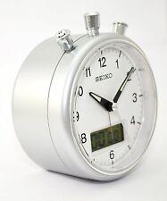 Seiko Metallic Silver  Alarm Clock Stopwatch & Countdown Timer QHE114S