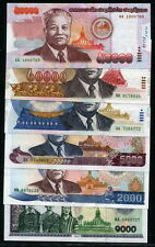 Laos Lao 1997-2004, 50000 - 1000 Kip, P32-37, 6 PCS All UNC