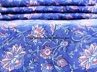 2.5 Yard Indian Floral Block Printed Fabric Throw Cotton Running Fabric Bohemian