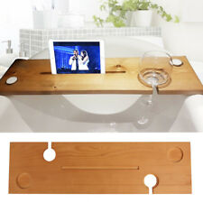 Wooden Bath Caddy Tray Bathtub Board Bath Shelf Wine Tablet Holder Light Oak UK